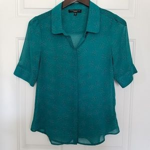 Sanctuary Small Green Button Up Top With Dots